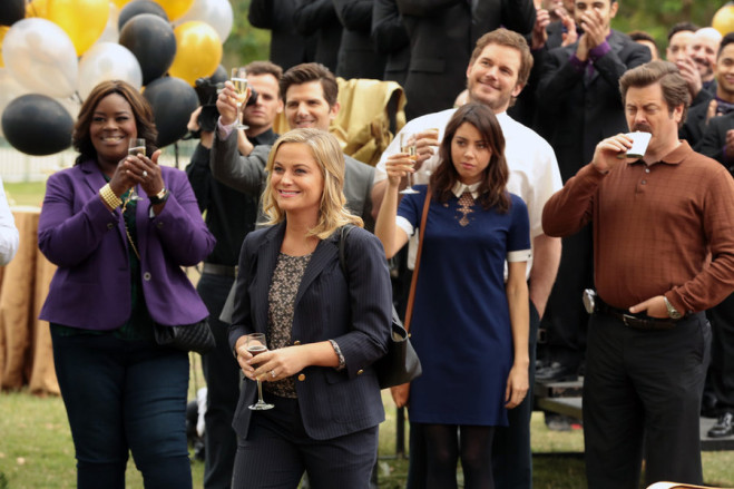 "PARKS AND RECREATION -- ""Viva Gunderson!"" Episode 711 -- Pictured: (l-r) Retta as Donna Meagle, Adam Scott as Ben Wyatt, Amy Poehler as Leslie Knope, Aubrey Plaza as April Ludgate, Nick Offerman as Ron Swanson -- (Photo by: Chris Haston/NBC)"